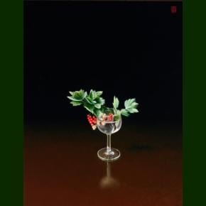 En kvist ribs i et glas