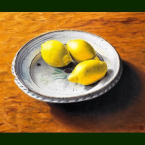 Tre citroner på et stettinerfad