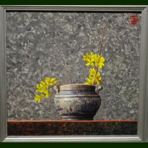 Forsythia i gammel kinesisk skål