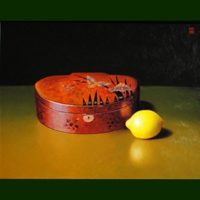 Gammelt kinesisk skrin og en citron